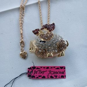 Betsey Johnson Champagne Pig Necklace
